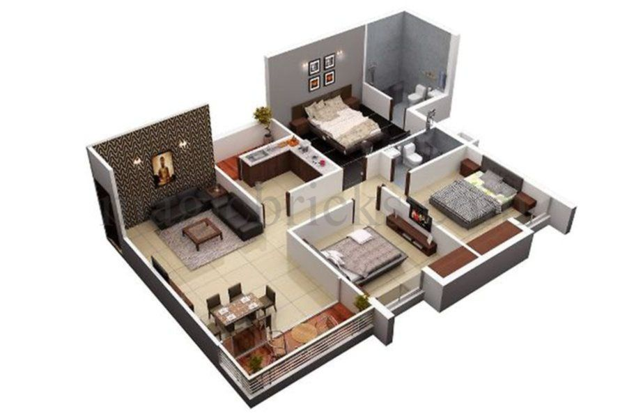 2 Bhk Builder Floor 550 Sqft Small House Layout House Plans Shop House Plans