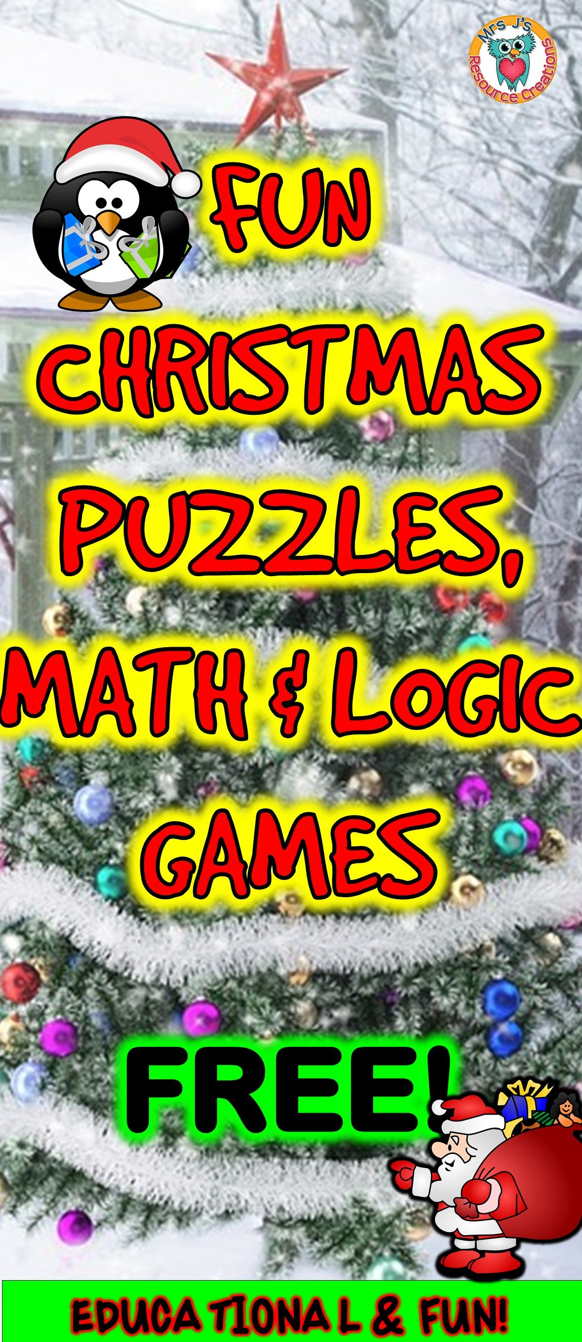Christmas puzzles, math and logic games to play FREE