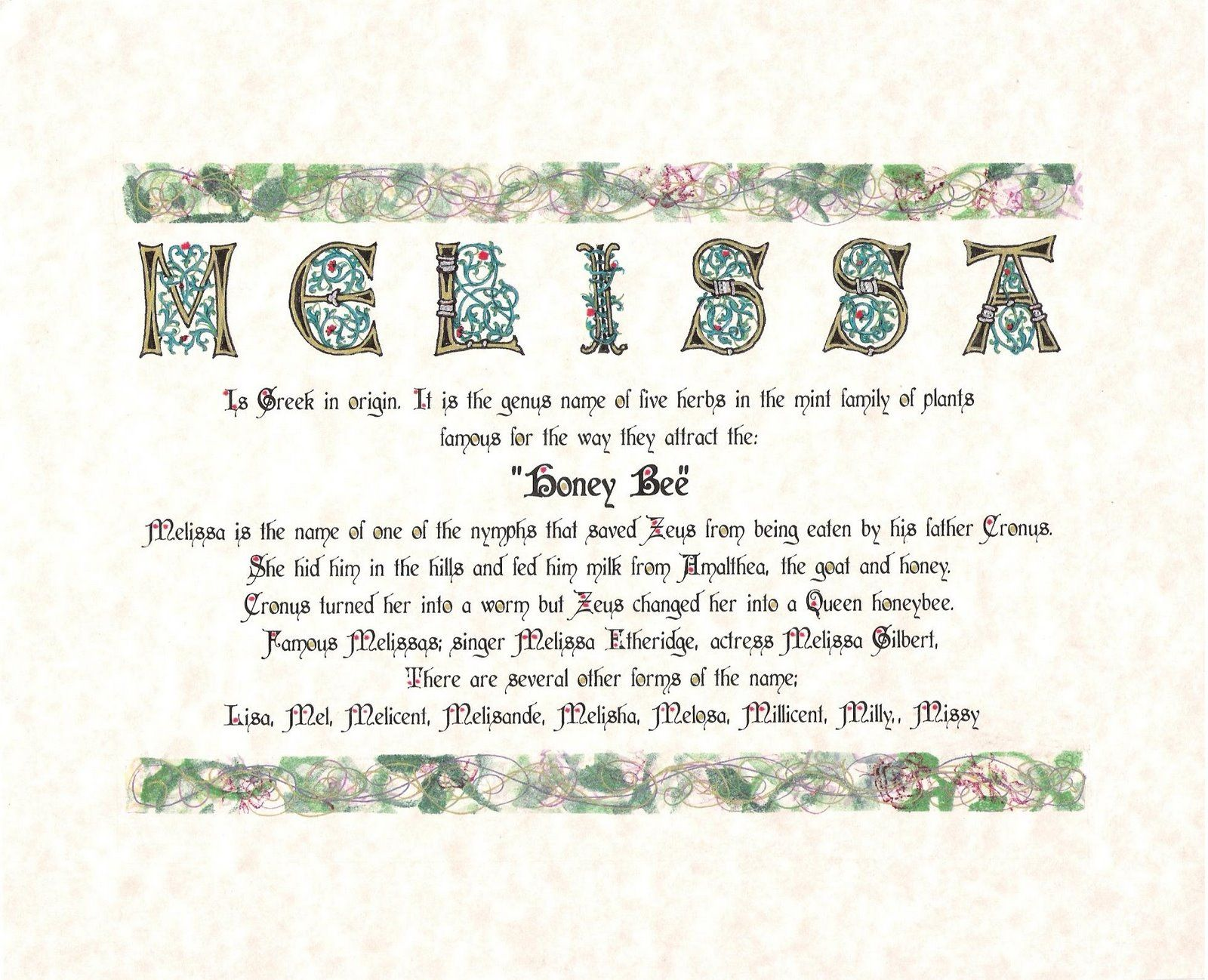 The meaning of the name Melissa for a girl 48