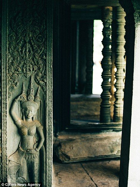 Many intricate Hindu carvings  can be found throughout Angkor.