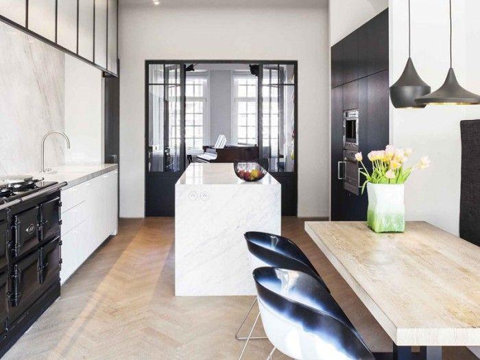 Smalle keuken met eiland google zoeken keuken inspiratie pinterest interiors kitchens - Smalle keuken ...