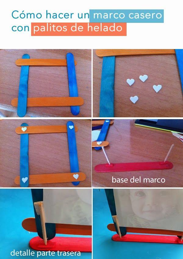 hacer un marco casero con palitos de helado paso a paso   PALITOS DE ...