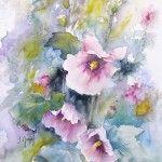 Tableaux en aquarelle Roses tremières