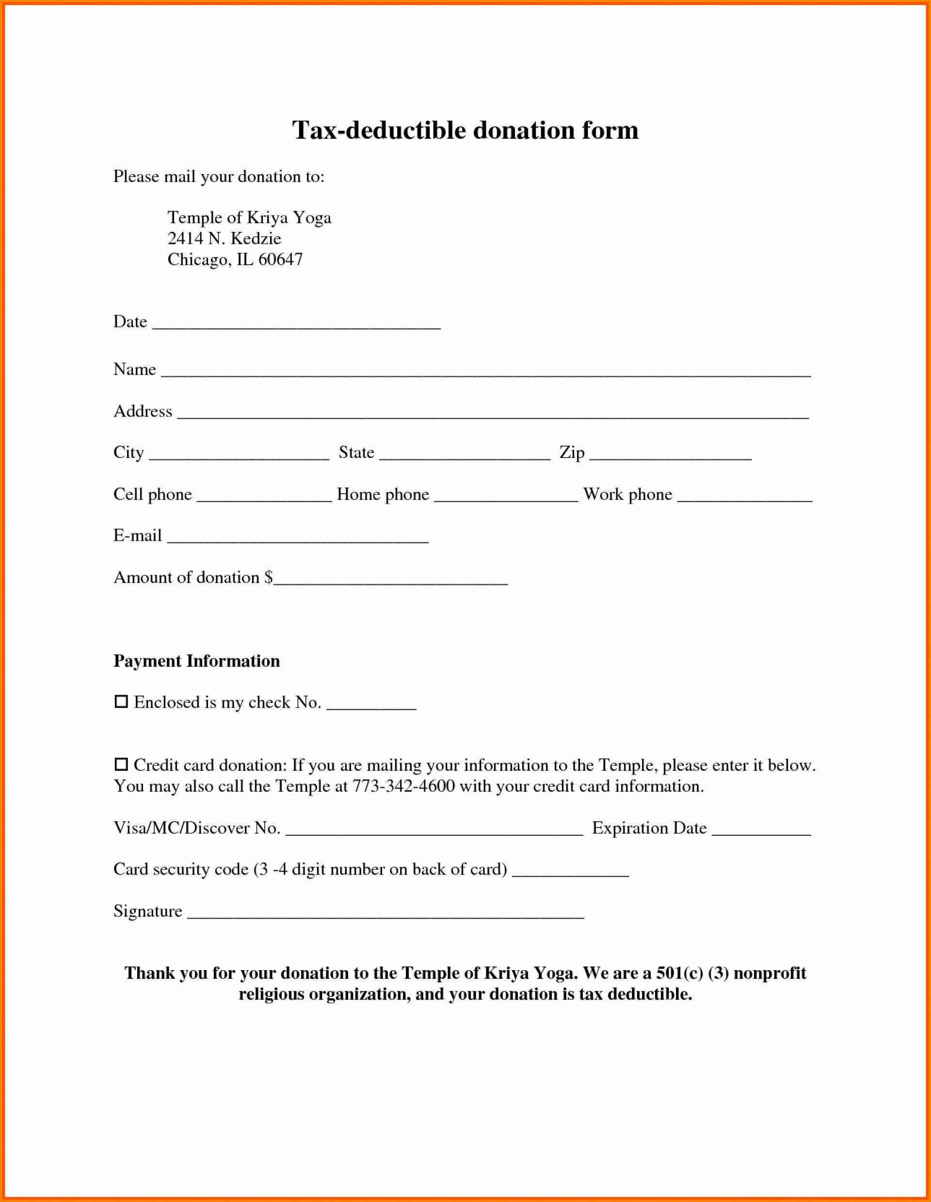 Donation Form Template Income Tax Request Pdf Free Non Within