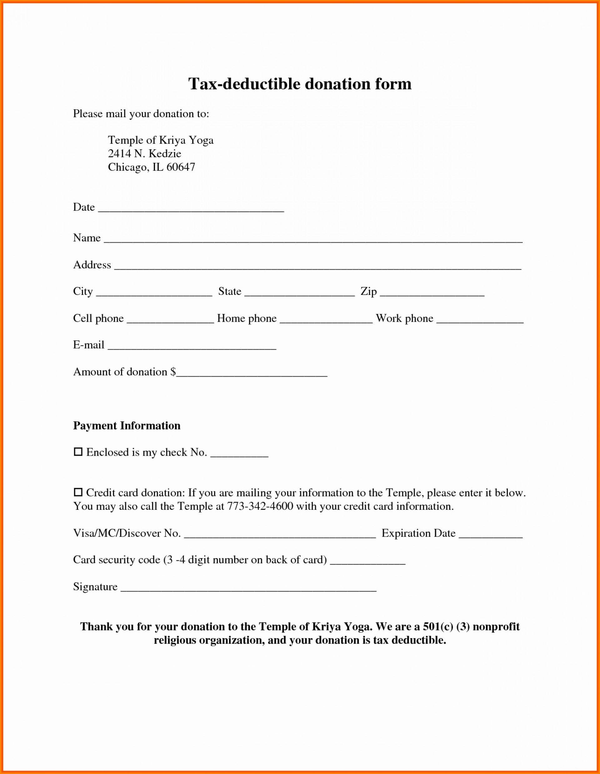 Donation form template tax request pdf free non
