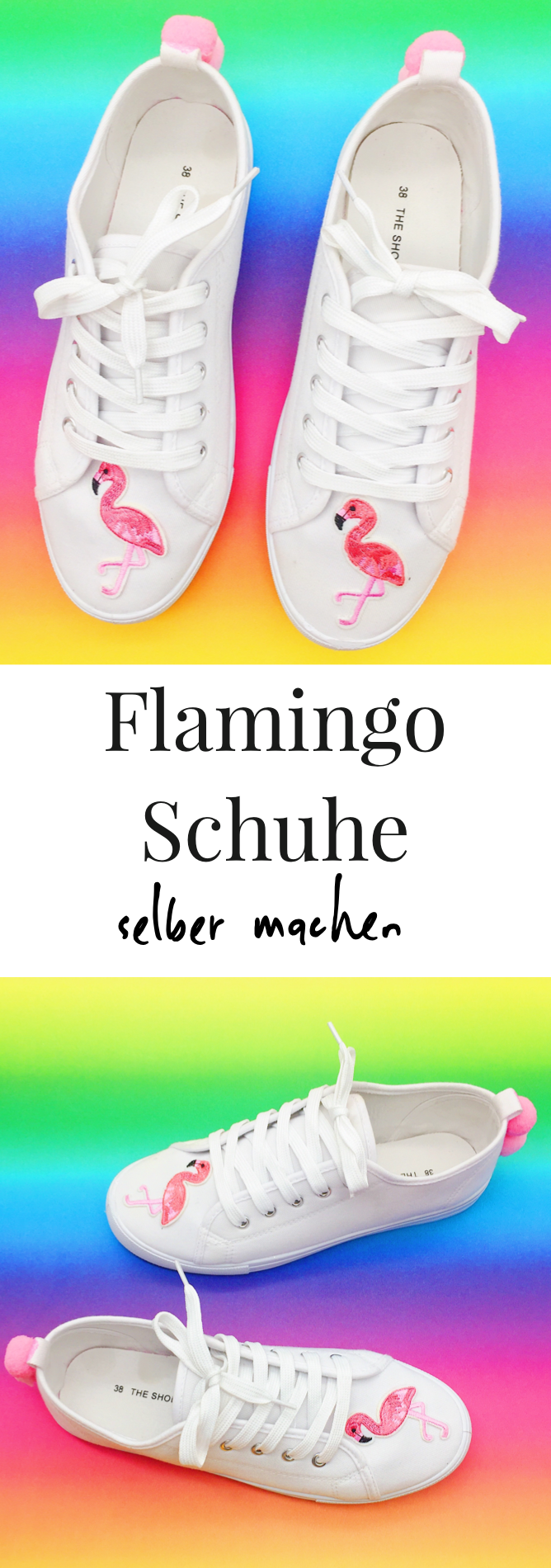 upcycling ideen f r kleidung schuhe mit flamingo patches und pompoms cute and sweet. Black Bedroom Furniture Sets. Home Design Ideas