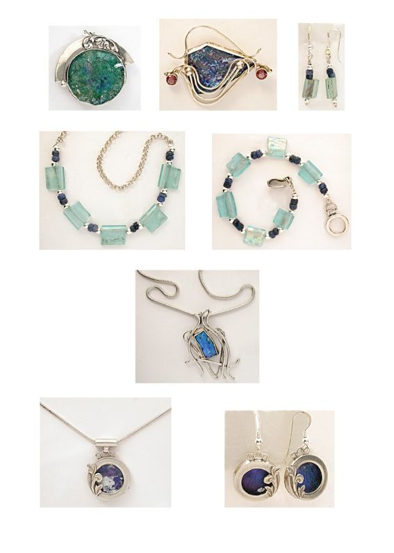 Sterling silver jewelery with genuine ancient Roman glass by