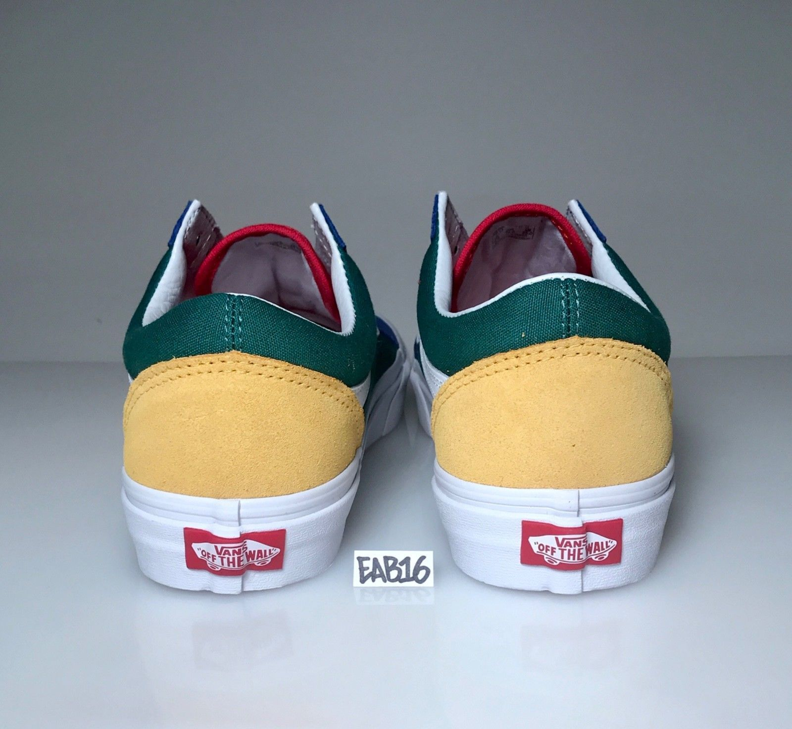 49a61fc6000e45 Vans Old Skool Yacht Club Yellow Blue Green and Red Colorblocked Color  Blocked