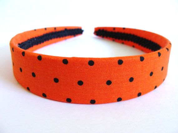HALLOWEEN Fabric Covered Headband  Orange and by GracefulbyAnna, $6.00
