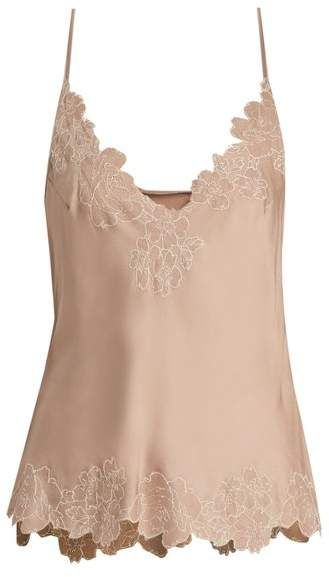 aad57e0d7f7 Carine Gilson Lace Trimmed Silk Satin Cami Top - Womens - Nude  Trimmed Silk  Lace