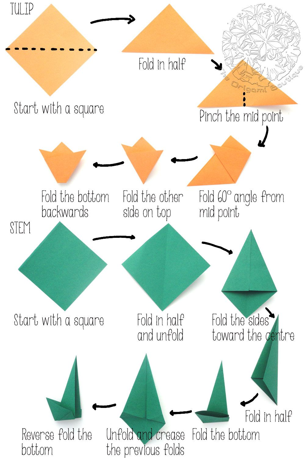 Origami Traditional Tulip Folding Instructions - How to Fold an ... | 1500x1000