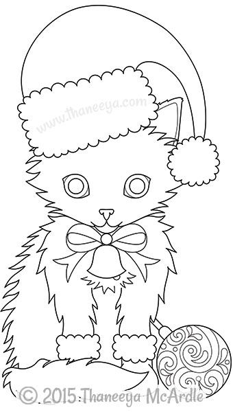 Color christmas coloring book cat by thaneeya