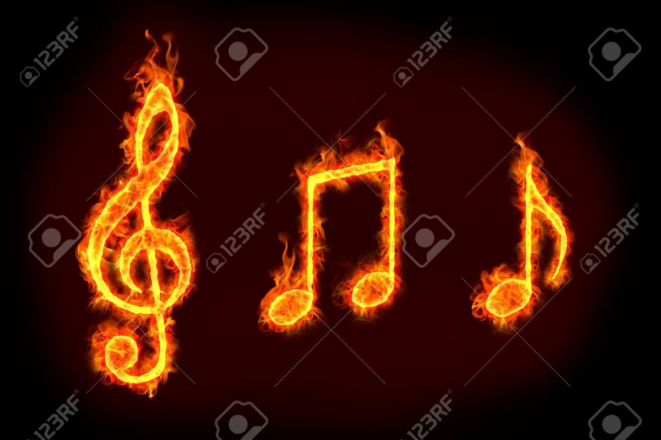 Music Notes Sign In Burning Flames For Music Related Concepts