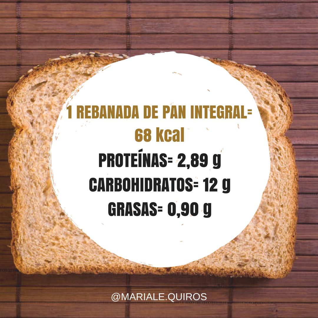 Pan integral calorias rebanada