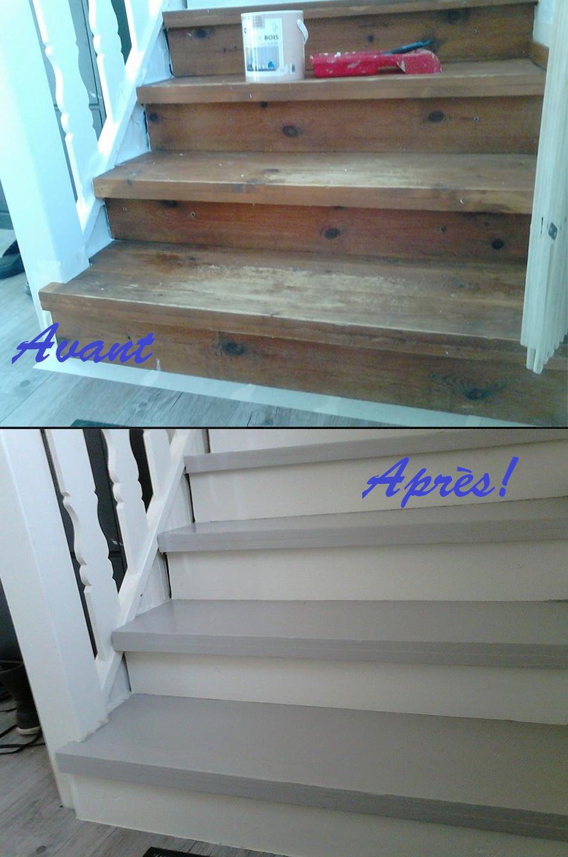 """repeindre un escalier, ça change toute la maison! ici taupe et ivoire de """"relook bois"""" (avec ..."""