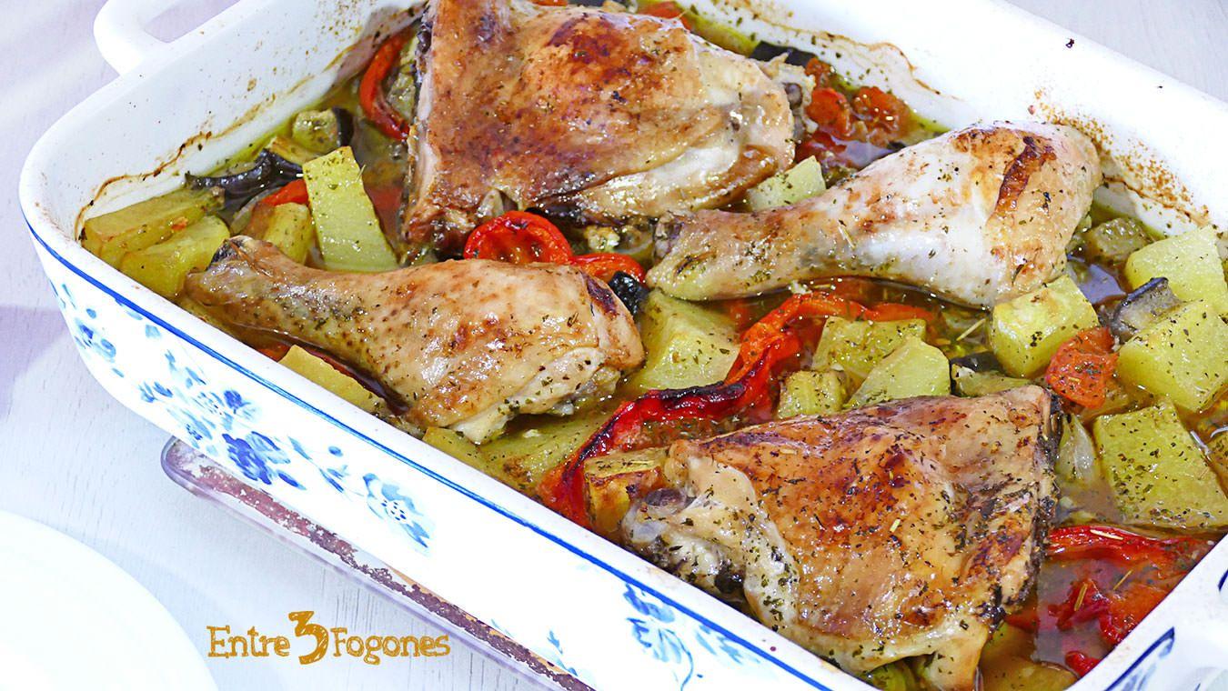 Pollo Al Horno Con Verduras Y Vino Blanco Pollo Al Horno Verduras Pollo