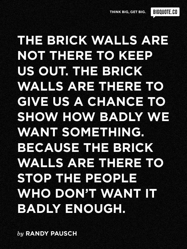 The brick walls are not there to keep us out. The brick walls are there to give us a chance to see how badly we want something.