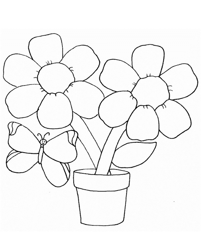simple flower coloring page with butterfly for kids  Flower