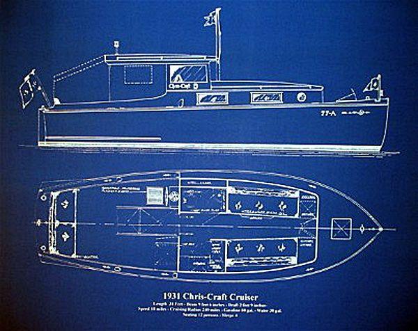 Vintage Chris Craft Boat Yacht 1931 Blueprint Plan 18x23 (006 - new blueprint wealth australia