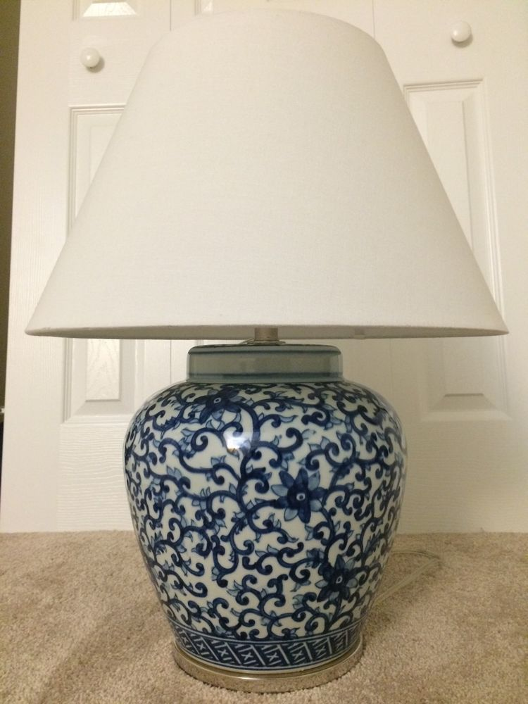 RALPH LAUREN HOME Mandarin Blue Floral Ginger Jar Porcelain Table Lamp  BRAND NEW