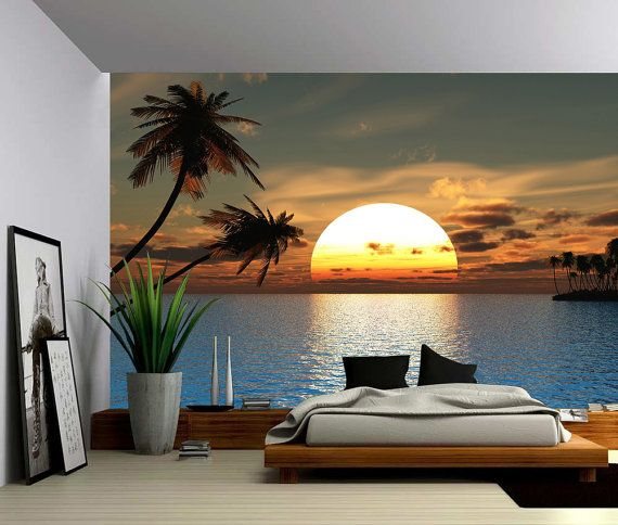 Tropical sunset ocean palm tree large wall mural self - Lame adhesive murale ...