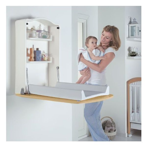Wall Changing Unit And Desk In Wood Home Baby Changing