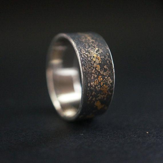 Gold On Black Ring Midas Interrupted Reiteration2 Mens Wedding Alternative Size 11