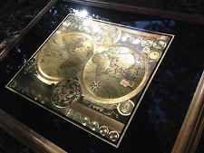 Gold Foil World Map Framed.Framed 24k Gold Foil World Map By Peter Schenk Vintage Astrological