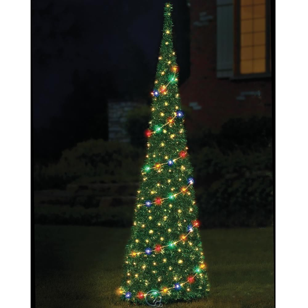 the 9 prelit pop up tinsel christmas tree fully decorated indoor outdoor decor - Pop Up Pre Lit And Decorated Led Christmas Tree