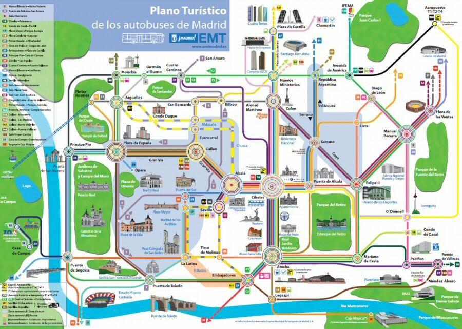 Descárgate el pdf con el plano turístico de Madrid con las líneas on