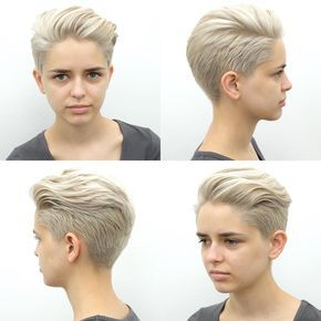 Platinum Blonde Pixie with Long Top Fringe Styled
