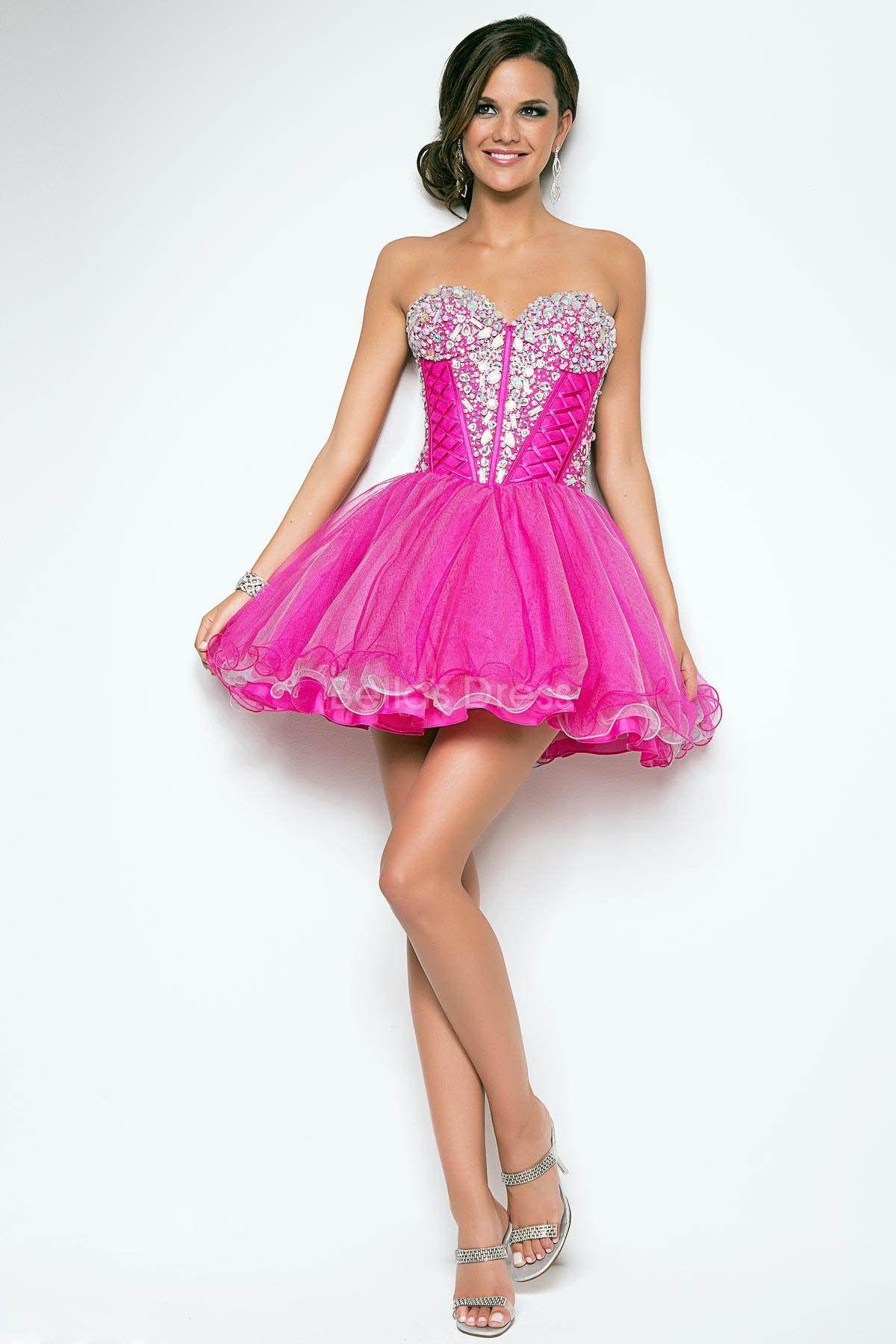 Vestidos para festa neon | Short pink prom dresses, Tulle dress and Prom