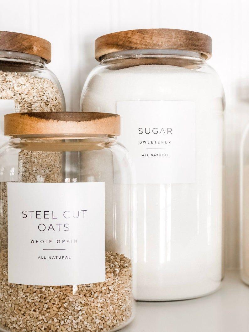 Minimalistische Pantry Labels • Personalisatie beschikbaar • Duurzaam, Water & Oliebestendig • Vierkant of Rond, past mason jars