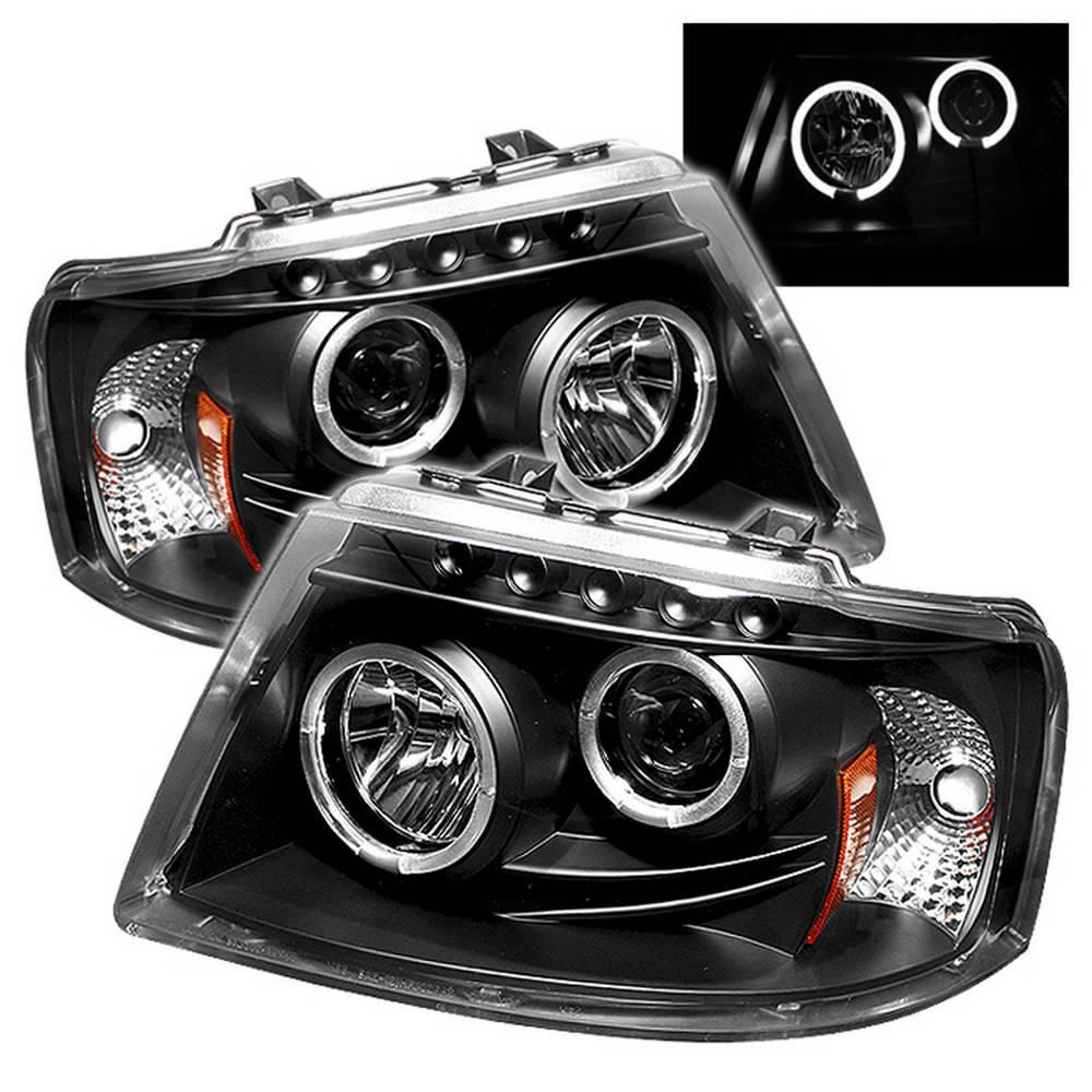 Spyder Auto Ford Expedition 03 06 Projector Headlights Led Halo Led Replaceable Leds Black 5010117 The Home Depot Ford Expedition Projector Headlights Black Headlights
