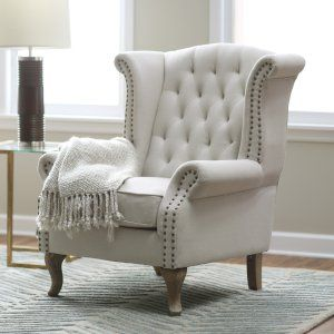 Belham Living Tatum Tufted Arm Chair With Nailheads   Accent Chairs At  Hayneedle
