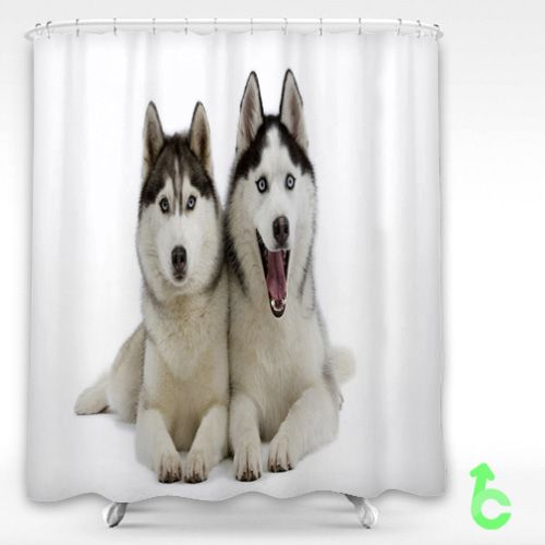 Dog Beautiful Siberian Husky Puppies Shower Curtain Fabric