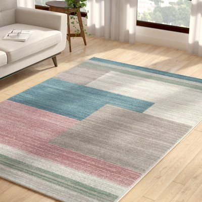 Hashtag Home Evalina Abstract Blue Beige Area Rug Wayfair In 2020 Area Rugs Pink Area Rug Rugs