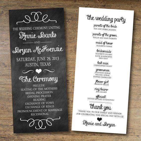 chalkboard wedding program free printable wedding wedding