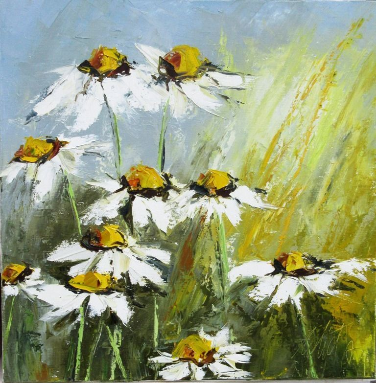Peinture florale huile au couteau fleurs au soleil for Peinture a la spatule