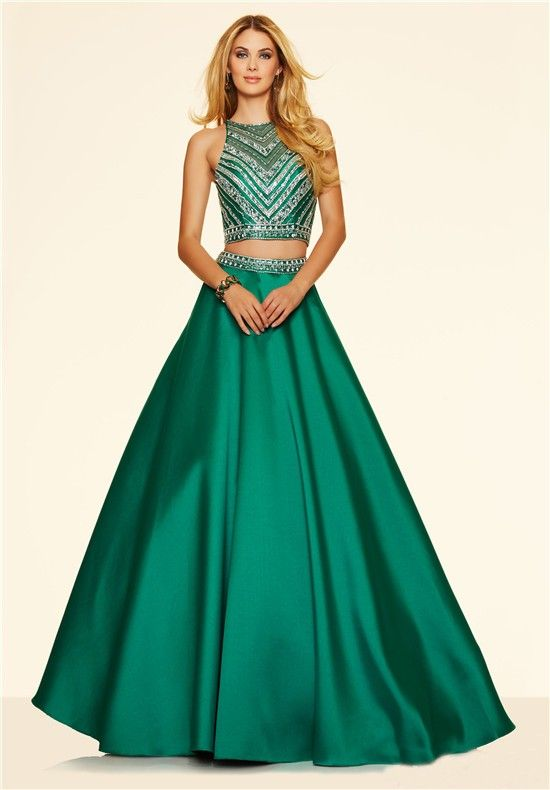 A Line Two Piece Long Emerald Green Satin Beaded Prom Dress ...