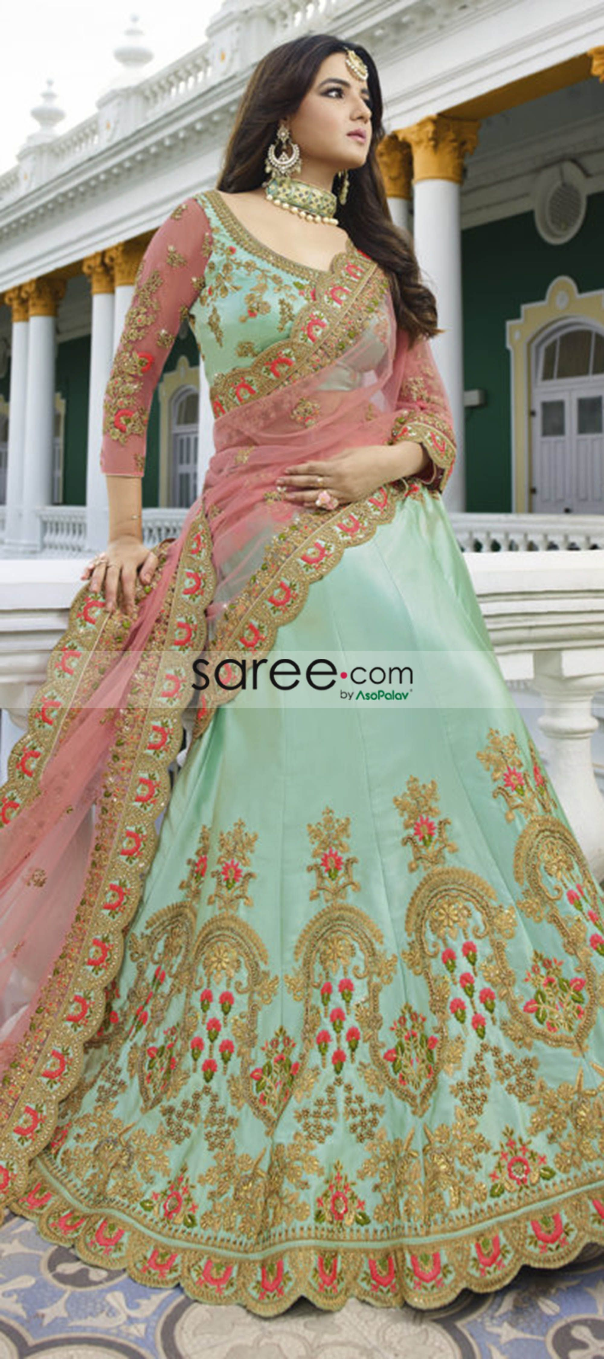 Bhasin Green Silk Designer Lehenga Choli With Zari Embroidery Dressing Ideas for a Ravishing Bride  Bridal Dreams - Look Your Best on Your D Day Mesmerizing Lehenga Cholis for a Ravishing Bride..  We bring you bewitching outfits for your special day - dazzle on your main ceremony or wear these for your pre-wedding functions or recep