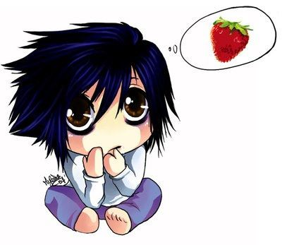 Death Note L Cute Chibi death note I can has strawberry? DƎ - death note