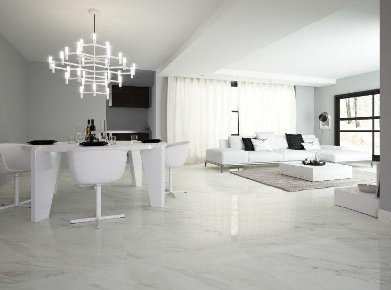 32 X32 White Marble Look Porcelain Tile Living Room Tiles
