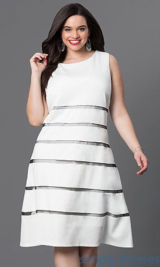 White Full Figure Cocktail Dresses