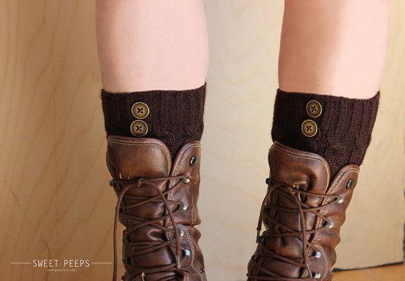 WINTER SPECIAL Knitted Legwarmers, Leg Socks, Knit Socks, Button Knit Socks, Brown Knit Socks, Boot Socks on Etsy, £10.50