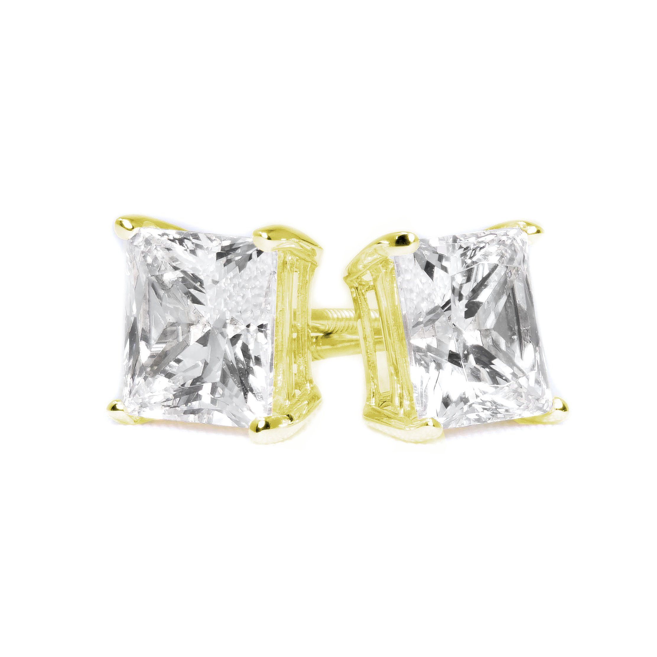 b7273e3fe 4 Ct Princess Cut Diamond Earrings in Solid 14k 18k Yellow Gold Screw Back  Studs