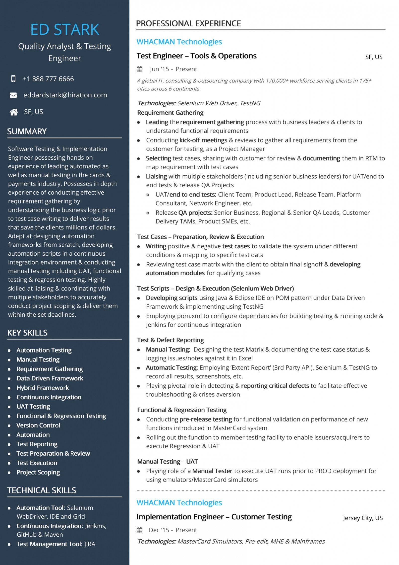 15 Xml Testing Resume Sample