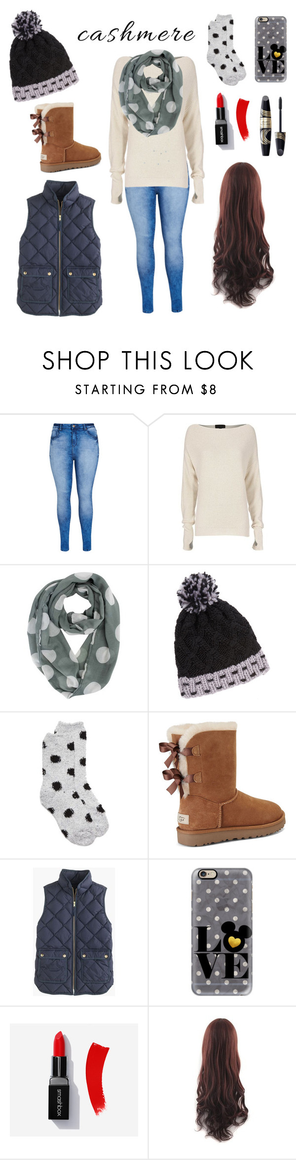 """""""Winter's here"""" by kitty16a ❤ liked on Polyvore featuring City Chic, Exclusive for Intermix, New Directions, UGG, J.Crew, Casetify and Max Factor"""