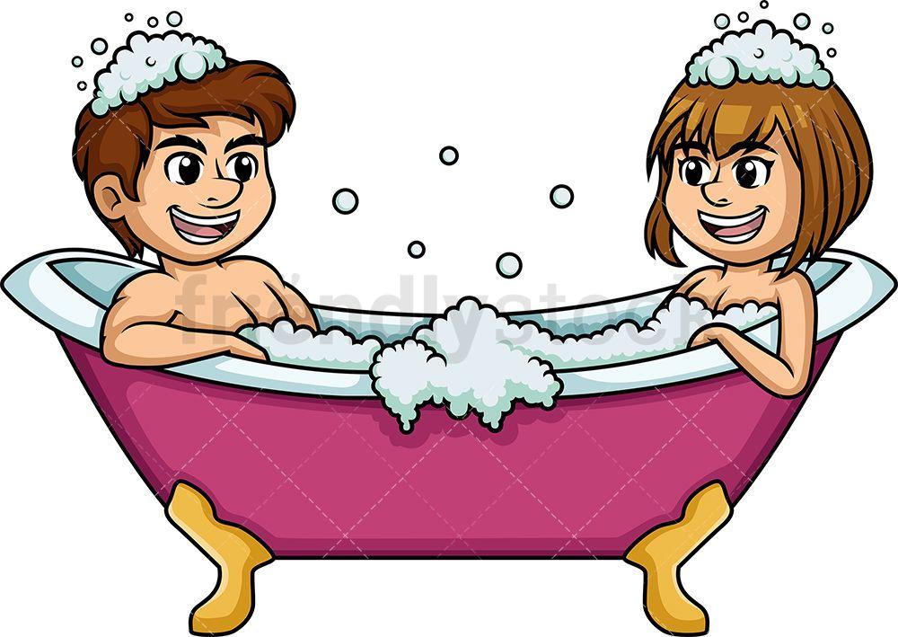 Caucasian Couple Having A Bath Cartoon Clipart Vector Friendlystock Cute Couple Cartoon Cartoon Clip Art Cartoon