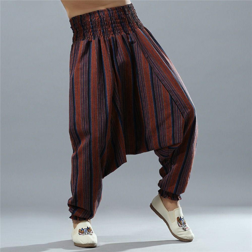 Pantalones Bombachos De Cintura Elastica A Rayas Para Hombre Pantalones De Tiro Caido Fluidos De Otono Pantal In 2021 Harem Pants Striped Harem Pants Harem Pants Men